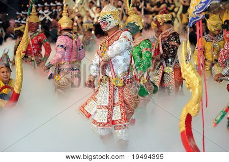 BANGKOK , THAILAND - AUG 1: Participants entertain spectators at the 1st Asian martial arts games 2009, opening ceremony at Indoor Stadium Huamark on August 1, 2009 in Bangkok, Thailand.