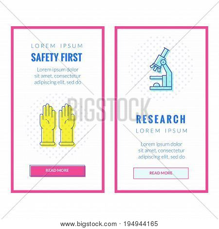 Set of Vertical web banner about research and safety