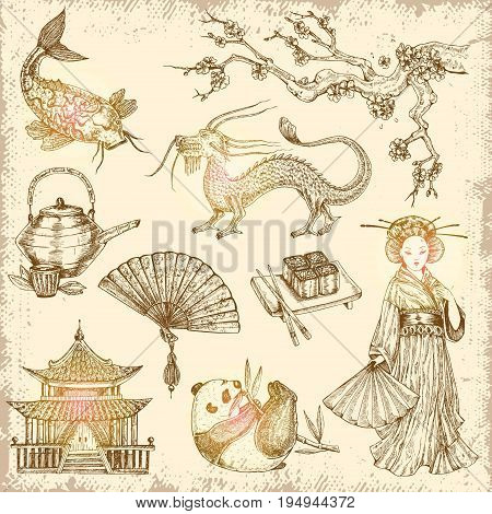 Asian hand drawn elements with fan teapot rolls and chopsticks pagoda dragon on worn background vector illustration