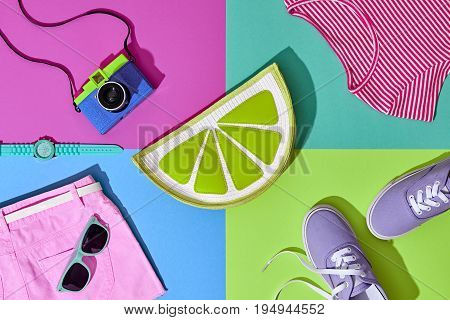 Fashion Summer Hipster Set. Film Camera, Clothes Accessories. Glamor Lime Citrus Clutch, Trendy fashion Sunglasses. Urban Outfit. Hot summer color. Creative Bright Pop Art Style. Retro Design camera