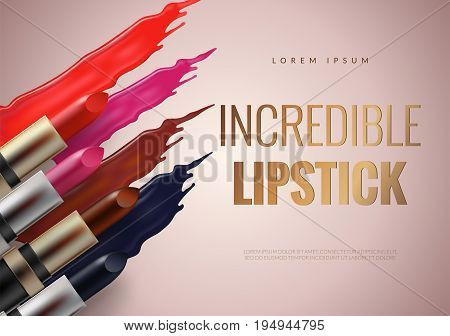 Lipstick advertising banner concept. Pink, red, vinous and modern blue colors