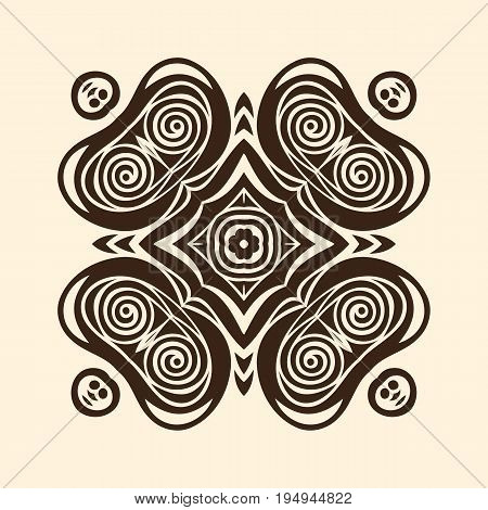 Vector mandala circular oriental ornament, graphic image with quadrilateral symmetry. Abstract illustration in black