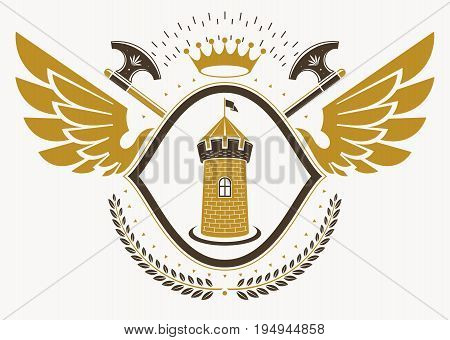 Vector illustration of old style heraldic emblem decorated with eagle wings and made with medieval fortress and crown
