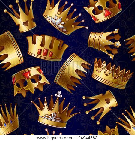 Cartoon gold royal crowns pattern with beautiful gemstones and jewels on blue flowery background vector illustration