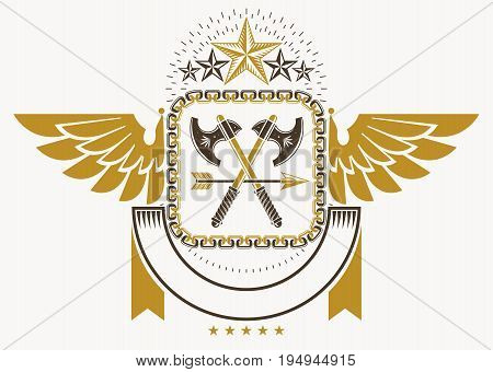 Heraldic Coat of Arms decorative emblem vector illustration of eagle wings armory and pentagonal stars