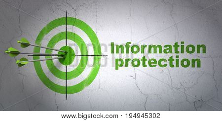 Success privacy concept: arrows hitting the center of target, Green Information Protection on wall background, 3D rendering