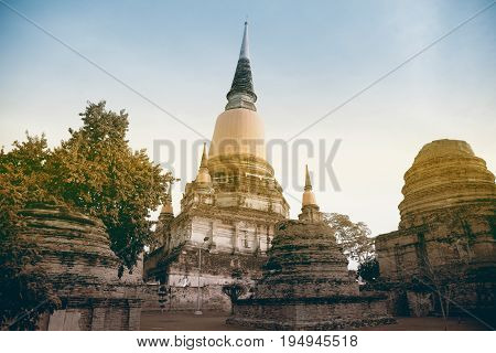 AYUTTHAYA,THAILAND-JULY 9,2017 : Ruined at Principal Chedi in Wat Yai Chai Mongkhon the Great Monastery of Auspicious Victory is located Ayutthaya Historical Park in Ayutthaya old capital city in Middle of Thailand.