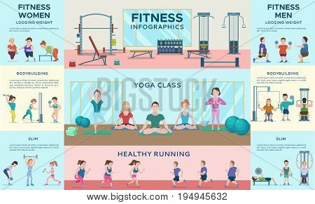Sport fitness infographic horizontal banners with gym equipment people in yoga poses running man and woman vector illustration