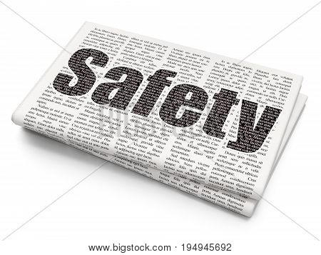 Security concept: Pixelated black text Safety on Newspaper background, 3D rendering