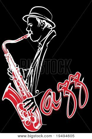 Vector illustration of a saxophonist on a black background