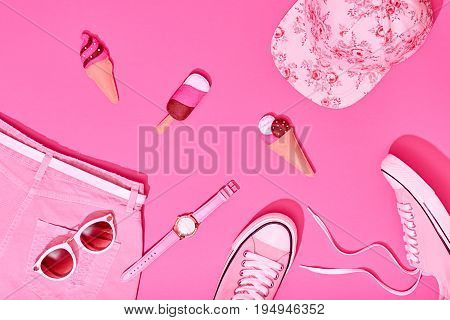 Summer Hipster Girl Accessories Set. Fashion Design. Hot Summer Sunny Vibes. Trendy Sneakers, fashion Sunglasses, Cap and Ice Cream. Creative Bright Sweet Style. Vanilla Pink Pastel Color.Minimal, Art