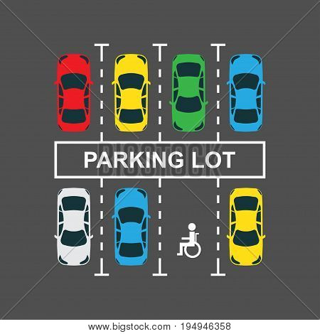 Top view of a city car parking lot with a set of different cars. Vector Illustration