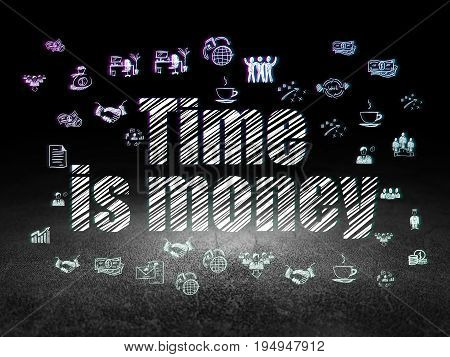 Finance concept: Glowing text Time Is money,  Hand Drawn Business Icons in grunge dark room with Dirty Floor, black background