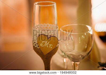 Wooden Heart With Lettering Mr Decorates Champagne Flute