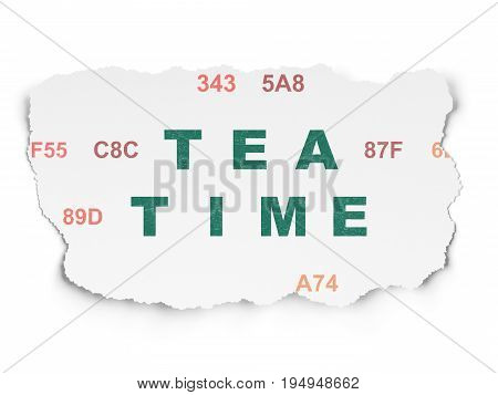 Timeline concept: Painted green text Tea Time on Torn Paper background with  Hexadecimal Code
