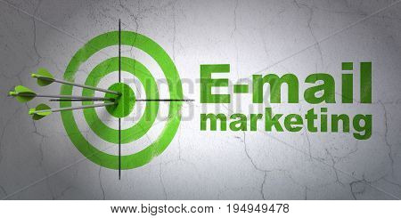 Success advertising concept: arrows hitting the center of target, Green E-mail Marketing on wall background, 3D rendering