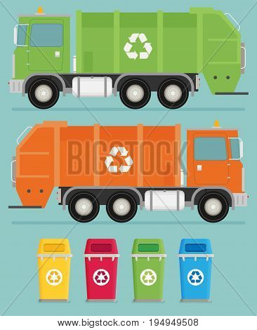Different color trashcans and truck illustration flat