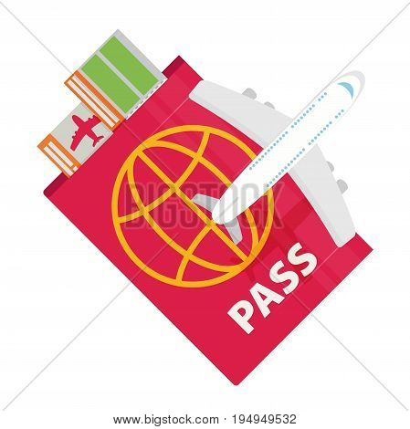 Vector modern flat design web icon on airline tickets and travel with jet airliner flying