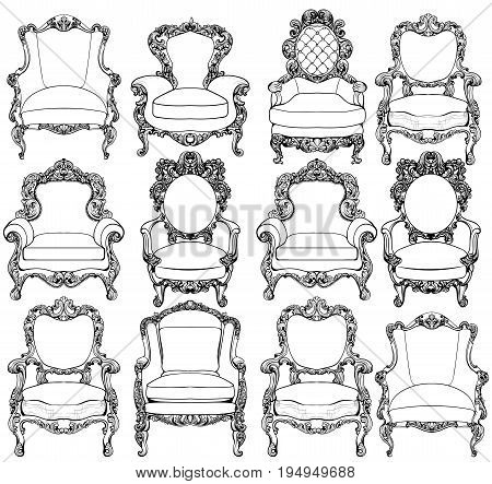 Vintage Baroque luxury style armchairs furniture set collection. French Luxury rich carved ornaments decoration. Vector Victorian exquisite Style furnitures