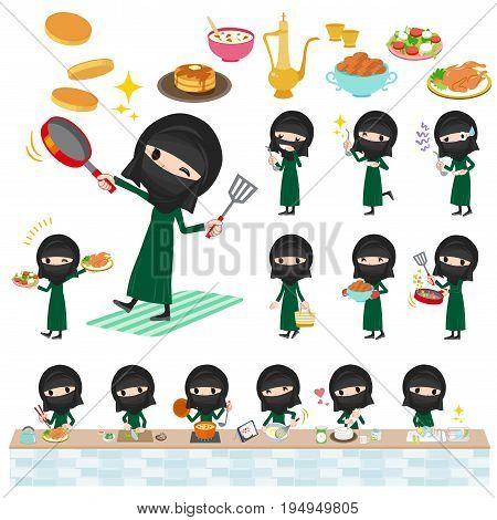 Arab Woman Niqab Style Cooking