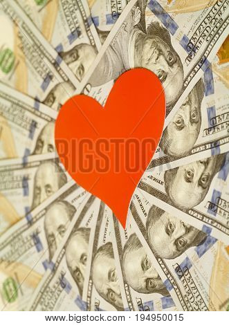 Red Paper Heart And Hundred Dollar Bills For Background