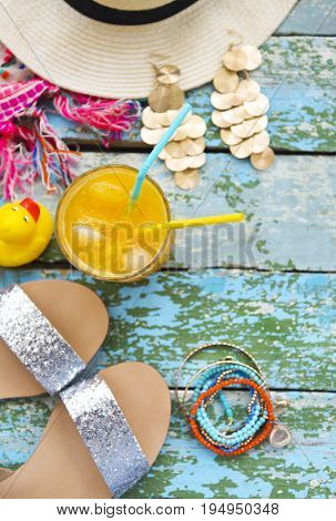 Young woman accessories for summer vacation. Modern lifesyle concept