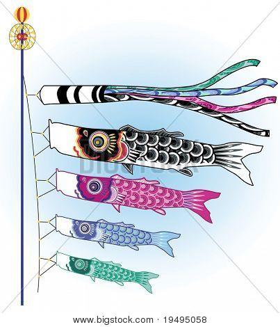 Vector illustration of Japanese koinobori fish poster