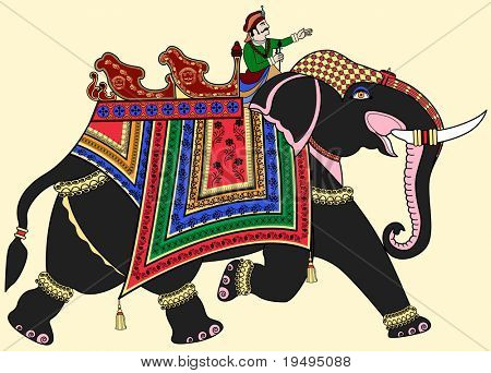 Vector illustration of a decorated Indian elephant