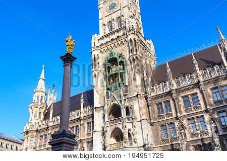 Marienplatz town hall rathaus and column in Munich, Germany