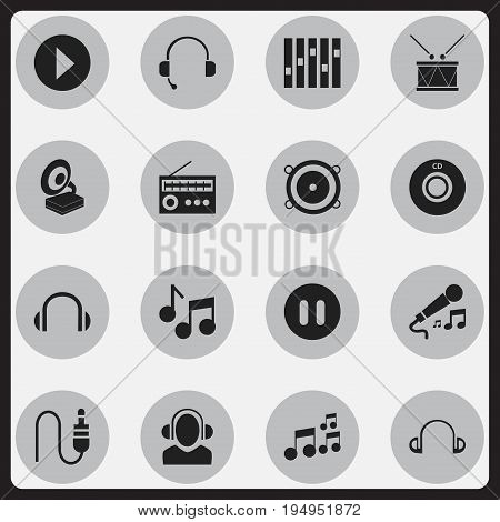 Set Of 16 Editable Song Icons. Includes Symbols Such As Stereo Plug, Phonograph, Tone And More. Can Be Used For Web, Mobile, UI And Infographic Design.