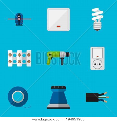 Set Of 9 Editable Electric Icons. Includes Symbols Such As Lightbulb, Wire, Adhesive And More. Can Be Used For Web, Mobile, UI And Infographic Design.