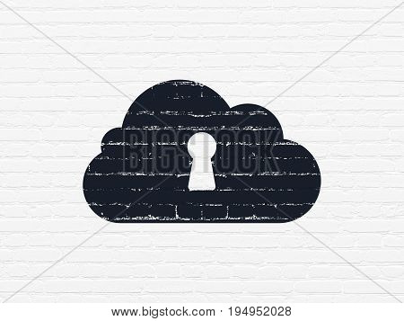 Cloud technology concept: Painted black Cloud With Keyhole icon on White Brick wall background