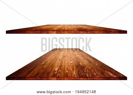 Empty wooden table with clipping path for product placement or montage on white background. Wooden board empty table perspective.