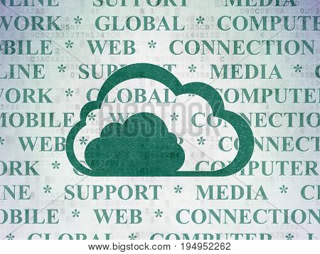 Cloud technology concept: Painted green Cloud icon on Digital Data Paper background with  Tag Cloud