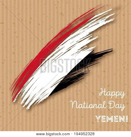 Yemen Independence Day Patriotic Design. Expressive Brush Stroke In National Flag Colors On Kraft Pa