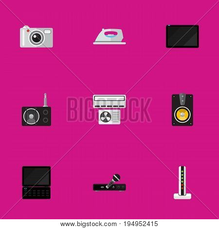 Set Of 9 Editable Home Icons. Includes Symbols Such As Ventilation, Microphone, Notebook And More. Can Be Used For Web, Mobile, UI And Infographic Design.