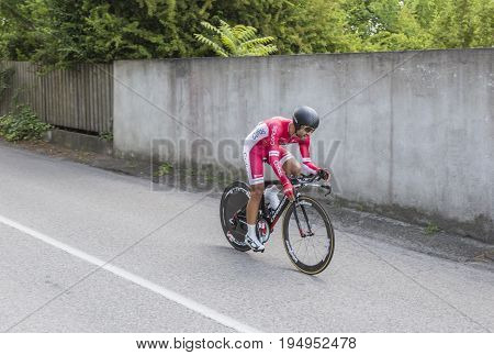 Bourgoin-Jallieu France - 07 May 2017: The French cyclist Nacer Bouhanni of Cofidis Team riding during the time trial stage 4 of Criterium du Dauphine 2017.