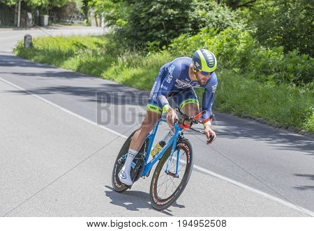 Bourgoin-Jallieu France - 07 May 2017: The Belgian cyclist Guillaume Van Keirsbulck of Wanty-Groupe Gobert Team riding during the time trial stage 4 of Criterium du Dauphine 2017.