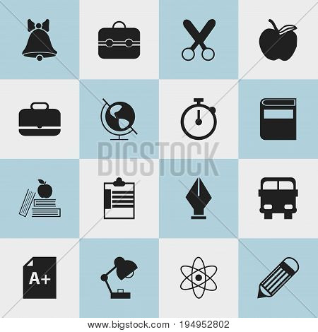 Set Of 16 Editable Knowledge Icons. Includes Symbols Such As Supervision List, Cutting, Portfolio And More. Can Be Used For Web, Mobile, UI And Infographic Design.