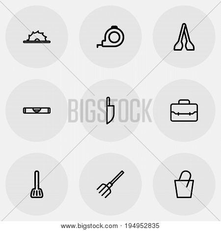 Set Of 9 Editable Apparatus Icons. Includes Symbols Such As Cuisine Utensil, Portfolio, Circle Blade And More. Can Be Used For Web, Mobile, UI And Infographic Design.
