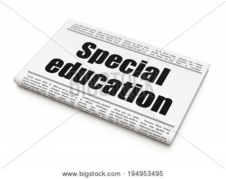 Studying concept: newspaper headline Special Education on White background, 3D rendering