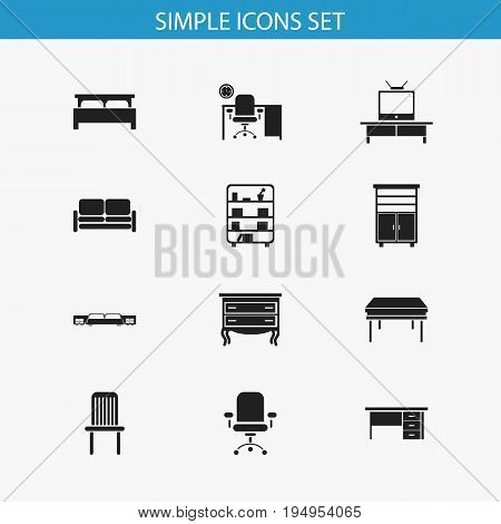 Set Of 12 Editable Furnishings Icons. Includes Symbols Such As Trestle, Ergonomic Seat, Tv And More. Can Be Used For Web, Mobile, UI And Infographic Design.