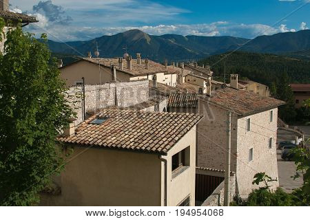 The roof of Monteleone di Spoleto village in Umbria