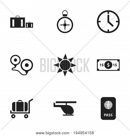 Set Of 9 Editable Journey Icons. Includes Symbols Such As Watch, Chopper, Greenback And More. Can Be Used For Web, Mobile, UI And Infographic Design.