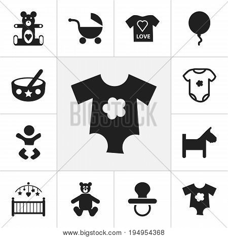 Set Of 12 Editable Baby Icons. Includes Symbols Such As Blouse, Nursery, Puppy And More. Can Be Used For Web, Mobile, UI And Infographic Design.