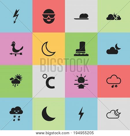 Set Of 16 Editable Climate Icons. Includes Symbols Such As Waterproof Shoes, Sunset, Sunup And More. Can Be Used For Web, Mobile, UI And Infographic Design.