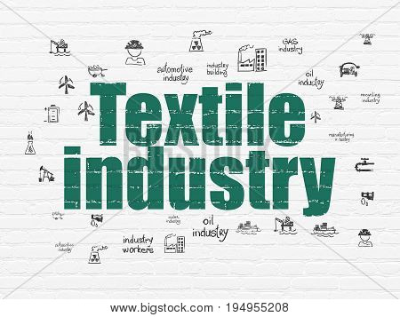 Industry concept: Painted green text Textile Industry on White Brick wall background with  Hand Drawn Industry Icons