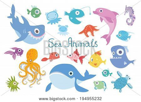 Cartoon sea animals set. Whale, shark, dolphin, octopus, turtle and other marine fish and animals. Vector illustration, isolated on white background.