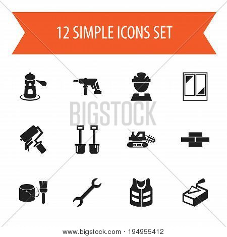 Set Of 12 Editable Construction Icons. Includes Symbols Such As Balcony, Mule, Worker And More. Can Be Used For Web, Mobile, UI And Infographic Design.