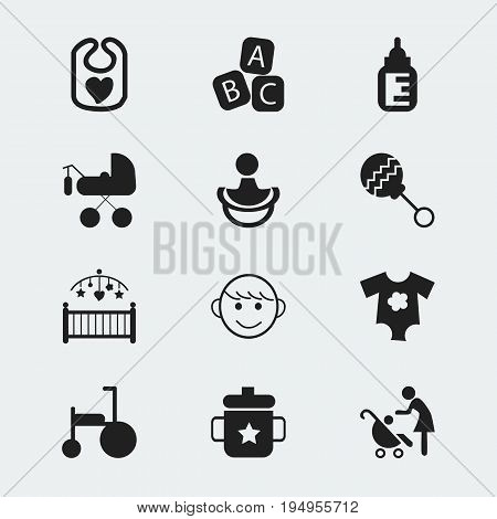 Set Of 12 Editable Baby Icons. Includes Symbols Such As Carriage, Bike, Nipple And More. Can Be Used For Web, Mobile, UI And Infographic Design.